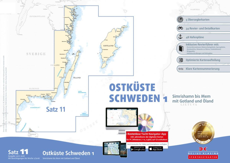Delius Klasing  Sportbootkarten Satz 11: Ostküste Schweden 1